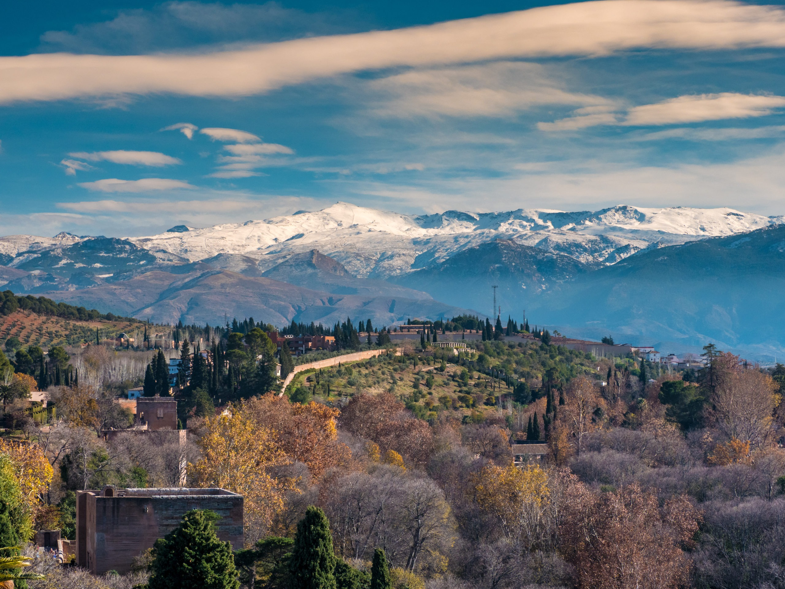 Panoramic view of Granada City with Sierra Nevada in Background